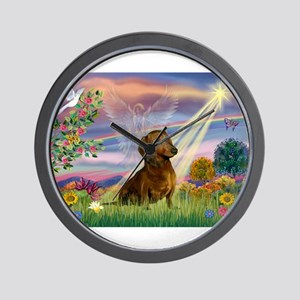 Cloud Angel /Dachshund (brn s Wall Clock