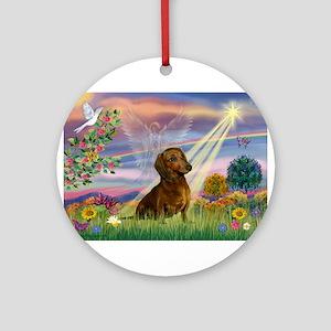 Cloud Angel /Dachshund (brn s Ornament (Round)