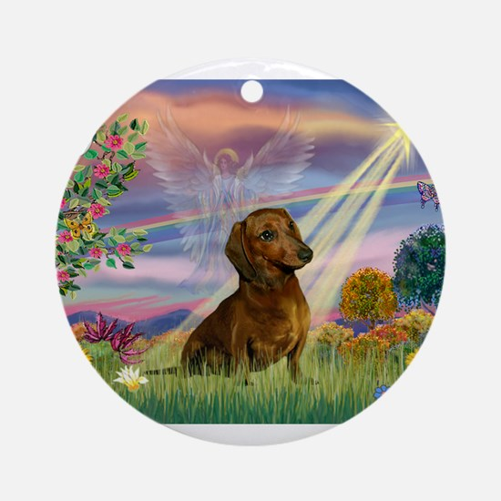 Cloud Angel /Dachshund (brn s Ornament (Round)