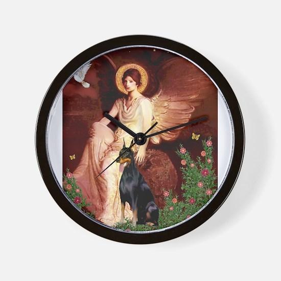 Seated Angel & Dobie Wall Clock