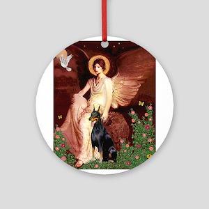 Seated Angel & Dobie Ornament (Round)