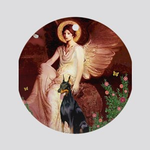 Seated Angel & Dobie Ornament (Round)