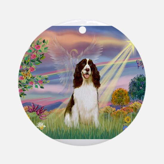 Cloud Angel & Springer Ornament (Round)