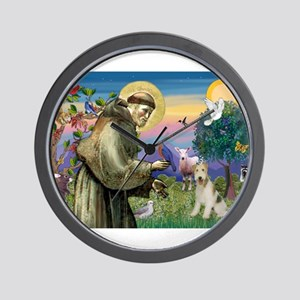 St Francis / Wire Fox Terrier Wall Clock
