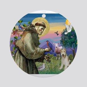St Francis / Wire Fox Terrier Ornament (Round)