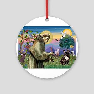St Francis / Fr Bulldog (brin Ornament (Round)