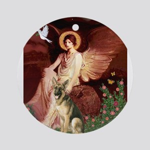 Seated Angel / German Shepher Ornament (Round)