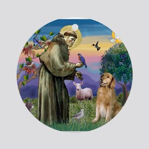 St Francis Golden Ornament (Round)