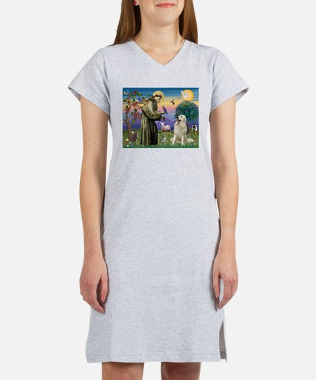 St Francis / Great Pyrenees Women's Nightshirt