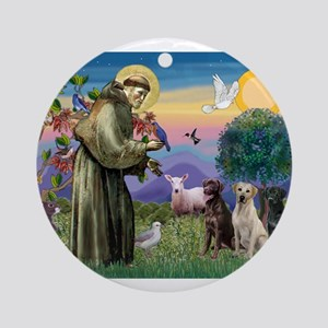 St Francis & Lab Trio Ornament (Round)