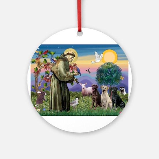 St Francis & Lab Trio Ornament (Round)