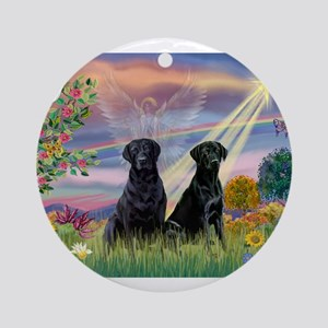 Cloud Angel & 2 Labs Ornament (Round)