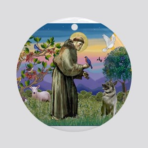 St Francis / Nor Elk Ornament (Round)
