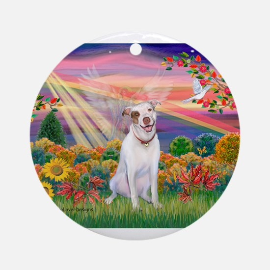 Autumn Angel / Pit Bull Ornament (Round)