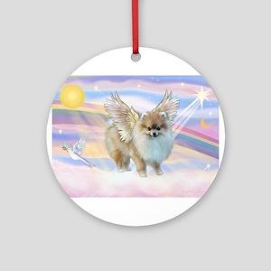 Pomeranian / Angl (s&w) Ornament (Round)