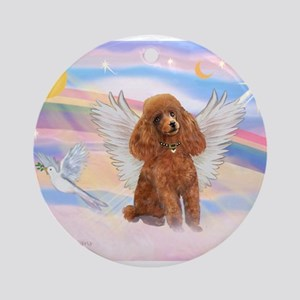 Angel/Poodle (Aprict Toy/Min) Ornament (Round)