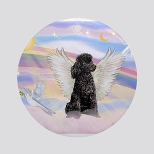 Angel/Poodle (blk Toy/Min) Ornament (Round)