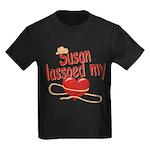 Susan Lassoed My Heart Kids Dark T-Shirt