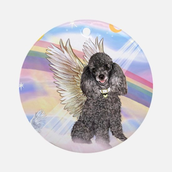 Silver Poodle Angel Ornament (Round)