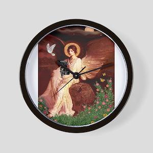 Seated Angel / Pug (blk) Wall Clock