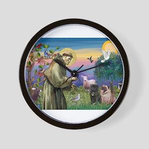 St. Francis & Pug Pair Wall Clock