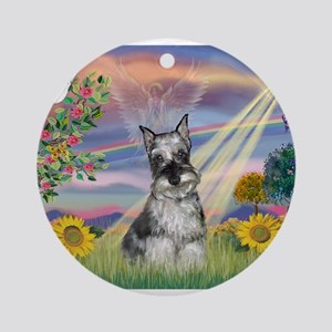 Cloud Angel / Min Schnauzer ( Ornament (Round)