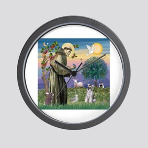 St Francis / Min Schnauzer (g Wall Clock