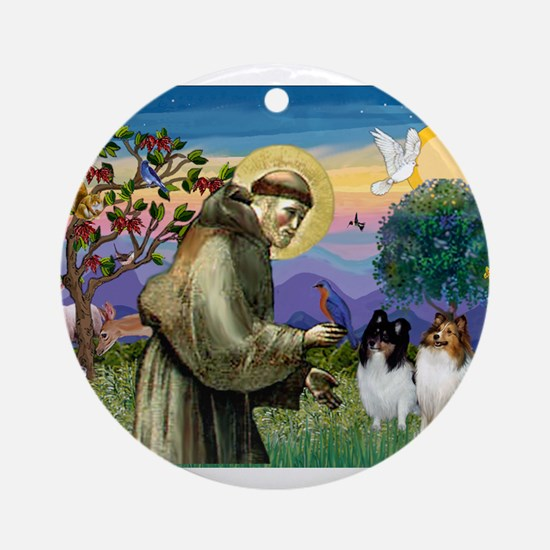 St Francis / Sheltie pair Ornament (Round)