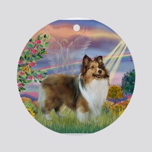 Cloud Angel & Sheltie Ornament (Round)