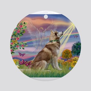 Cloud Angel & Husky Ornament (Round)