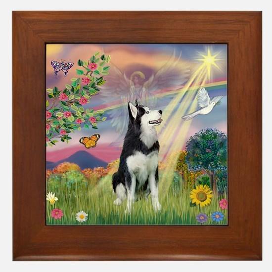 Cloud Angel / Siberian Husky Framed Tile