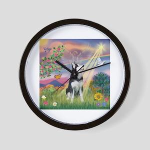 Cloud Angel / Siberian Husky Wall Clock