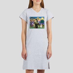 St Francis / Welsh Corgi (p) Women's Nightshirt