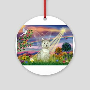 Cloud Angel / Westie Ornament (Round)