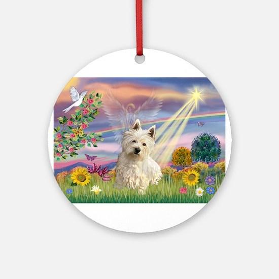 Cloud Angel & Westie Ornament (Round)