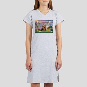 Cloud Angel & Yorkie Women's Nightshirt