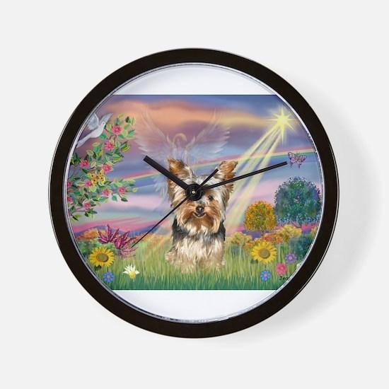 Cloud Angel & Yorkie Wall Clock