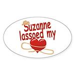 Suzanne Lassoed My Heart Sticker (Oval)