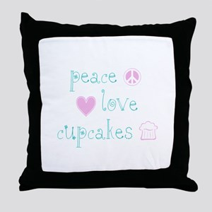 Peace, Love and Cupcakes Throw Pillow