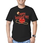 Terry Lassoed My Heart Men's Fitted T-Shirt (dark)