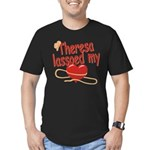 Theresa Lassoed My Heart Men's Fitted T-Shirt (dar