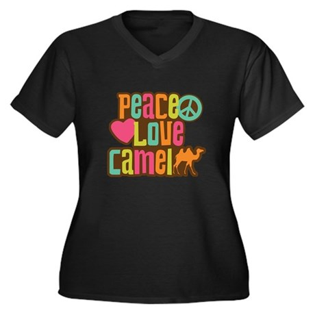 Peace love Camel Women's Plus Size V-Neck Dark T-S