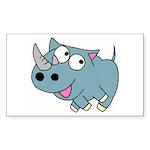 Cute Rhino Sticker (Rectangle)