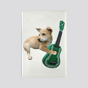 Dog Playing Ukulele Rectangle Magnet