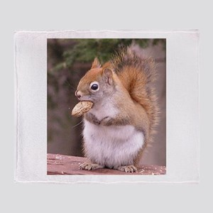 Red Squirrel Eating Throw Blanket