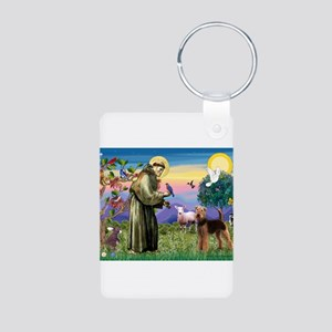 St Francis / Airedale Aluminum Photo Keychain