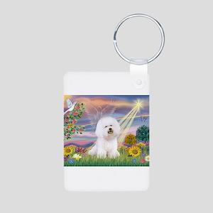Cloud Angel & Bichon Aluminum Photo Keychain