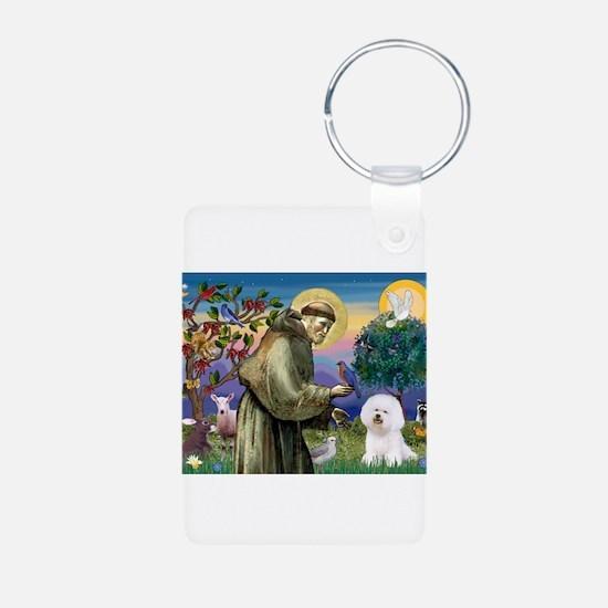 St Francis / Bichon Frise Keychains