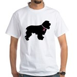 Cocker Spaniel Breast Cancer Support White T-Shirt