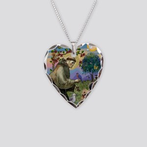 St Francis / Cairn Terrier Necklace Heart Charm